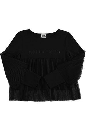 KARL LAGERFELD T-shirt Manches Longues En Coton Mélangé Et Tulle