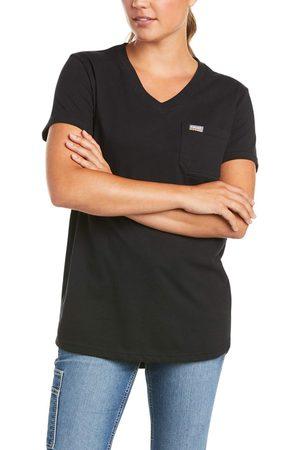 Ariat Women's Rebar Cotton Strong V-Neck Top in Black