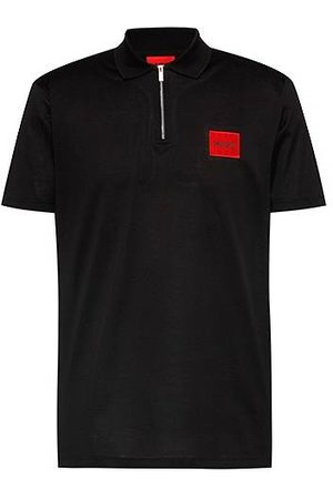 HUGO BOSS Homme Polos - Polo en coton à encolure zippée avec étiquette logo rouge