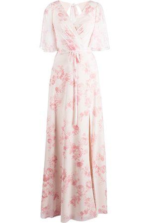 Marchesa Notte Robe longue fleurie à manches courtes