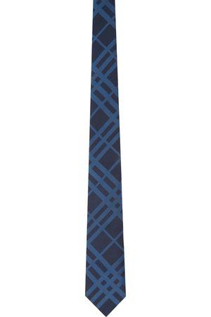 Burberry Cravate bleu marine en soie à carreaux et coupe classique