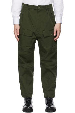 Maison Kitsuné Pantalon cargo kaki à poches plaquées et plis
