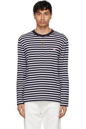 Maison Kitsuné T-shirt à manches longues Fox Marin bleu marine et blanc à écusson tricolore