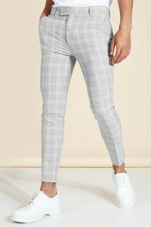 Boohoo Homme Pantalons Slim & Skinny - Pantalon super skinny court à carreaux Homme