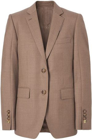 Burberry Single-breasted linen-wool blend tailored blazer