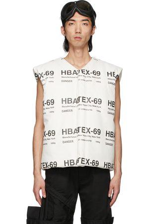 Hood By Air Veste rembourrée blanche et noire en cuir