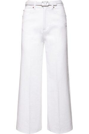 VALENTINO Femme Jeans - Jean Court En Denim De Coton Avec Ceinture