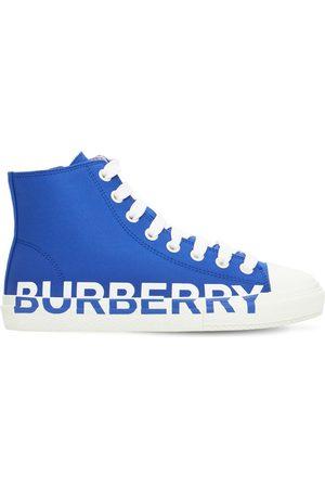 Burberry Sneakers Montantes À Lacets En Coton Imprimé Logo