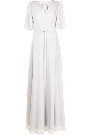 Marchesa Notte Robe longue à manches drapées