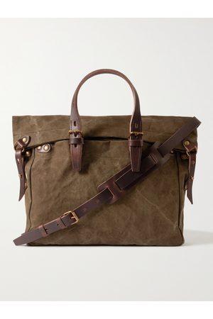 BLEU DE CHAUFFE Homme Sacs de voyage - Leather-Trimmed Cotton-Canvas Messenger Bag