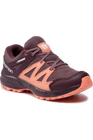 Salomon Chaussures de trekking - Huapi Cswp J 412321 10 M0 Flint/Winetasting/Burnt Coral