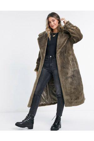 ASOS Femme Manteaux - Manteau oversize imitation peau de mouton avec ceinture