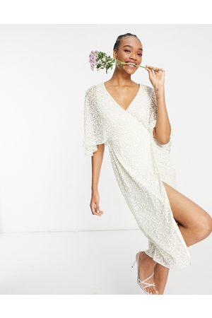 Maya Femme Robes midi - Robe portefeuille crayon mi-longue à sequins délicats - Écru