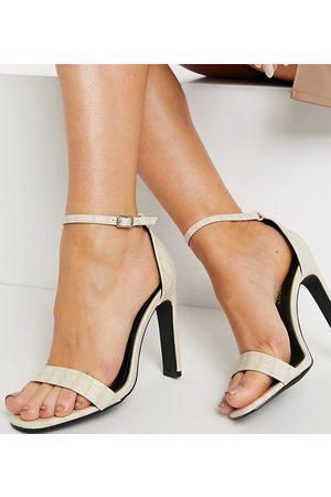 Glamorous Wide Fit Sandales minimalistes à talons effet croco - Blanc cassé-Neutre