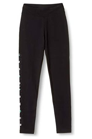 Under Armour Legging Favorites Fille, Black,Jet Gray,Comet Green (001), FR : S (Taille Fabricant : YSM)