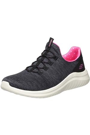Skechers Ultra Flex 2.0', Basket Femme, Maille Noire chinée avec Bordure , 37 EU