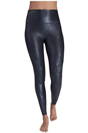 Spanx Faux Leather Jupe, Negro, L Femme