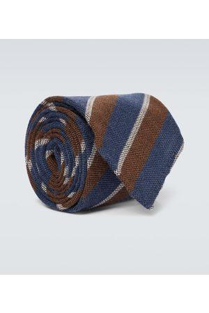 Thom Sweeney Cravate rayée en laine et soie