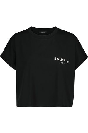 Balmain Femme Manches courtes - T-shirt raccourci en coton à logo