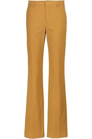 Loro Piana Femme Pantalons bootcut - Pantalon évasé à taille haute en coton mélangé
