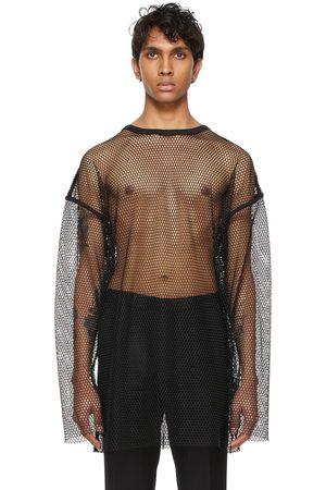 DRIES VAN NOTEN T-shirt à manches longues en filet noir