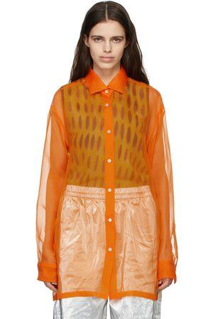 Dries Van Noten Chemise orange en organza de soie