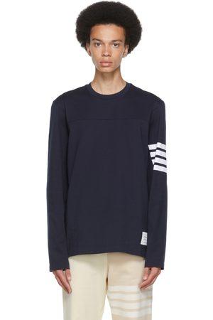 Thom Browne T-shirt à manches longues 4-Bar bleu marine en coton