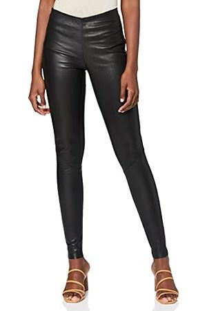 YAS Zeba Stretch Leather Legging Noos, (Black Black), 38 (Taille Fabricant: Small) Femme