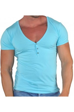 Roberto Lucca T-Shirt Col Tunisien Profond Coton Modal Turquoise