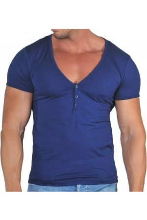 Roberto Lucca Homme T-shirts - T-Shirt Col Tunisien Profond Coton Modal Marine