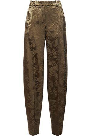 The Attico Pantalon En Viscose Fluide Logo En Jacquard