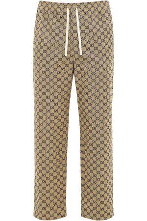 Gucci Femme Pantalons en cuir - Pantalon En Toile À Motif Gg Et Cuir