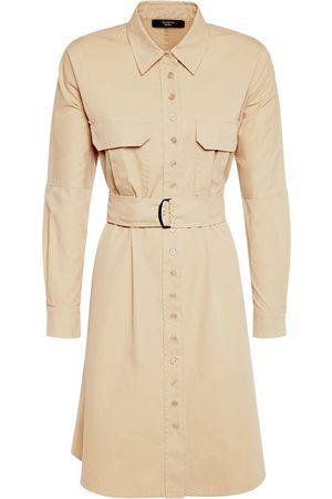 Max Mara Mini-robe Chemise En Sergé De Coton Avec Ceinture