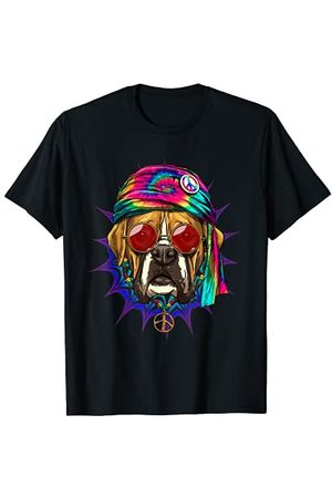 Wowsome! Tie Dye Hippie Boxer Hippiness Peace Love Dog T-Shirt