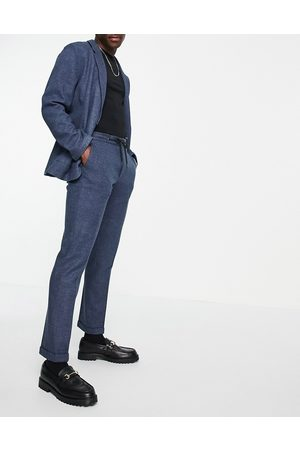 ASOS Pantalon de costume slim habillé en jersey doux avec taille large en sergé et cordon de serrage - marine