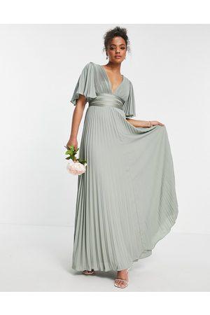 ASOS Robe pour demoiselle d'honneur longue plissée à manches évasées et liens croisés à la taille