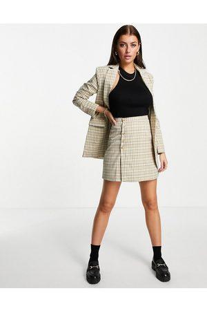 Fashion Union Jupe trapèze courte boutonnée à carreaux vintage (pièce d'ensemble)