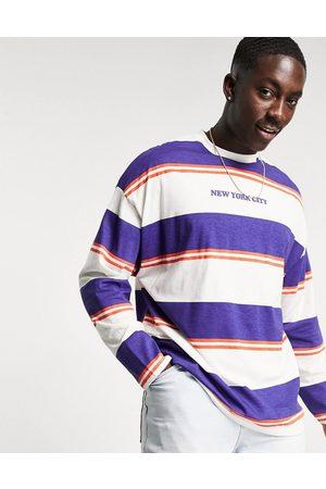 ASOS T-shirt manches longues oversize à rayures avec imprimé New York City