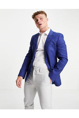ASOS Wedding - Veste de costume ajustée en lin de coton - marine