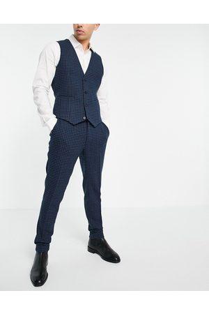 ASOS Pantalon de costume ultra ajusté en laine mélangée à carreaux - marine