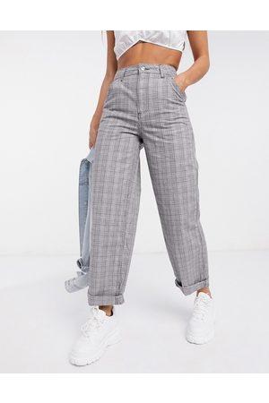 ASOS Femme Chinos - Pantalon chino ample - Carreaux gris
