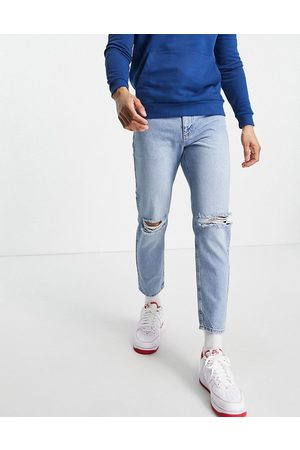 ASOS Homme Coupe droite - Jean rigide classique à déchirures - Délavage moyen