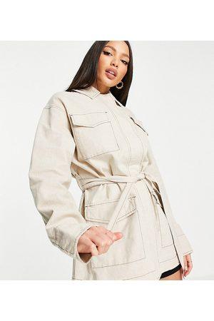 ASOS Femme Vestes - Tall - Veste ample en lin à quatre poches - Naturel