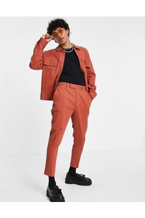 ASOS Pantalon fuselé habillé coupe skinny effet froissé (pièce d'ensemble) - Rouille
