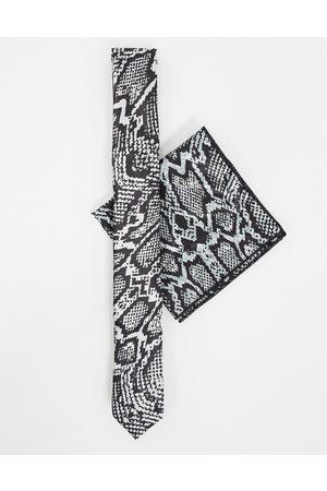 Bolongaro Ensemble pochette et cravate fine effet peau de serpent