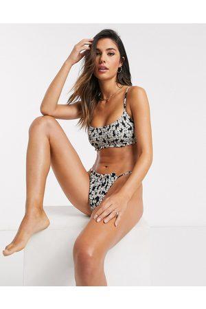 Topshop Haut de bikini court à imprimé floral et fronces
