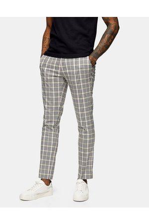 Topman Homme Chinos - Pantalon ajusté à carreaux - Rose et jaune