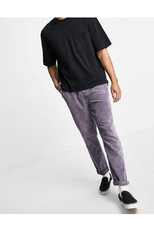 ASOS Homme Pantalons Slim & Skinny - Pantalon slim en velours côtelé avec ceinture élastique - délavé