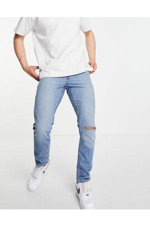 ASOS Homme Slim - Jean slim déchiré au genou - délavé moyen vintage
