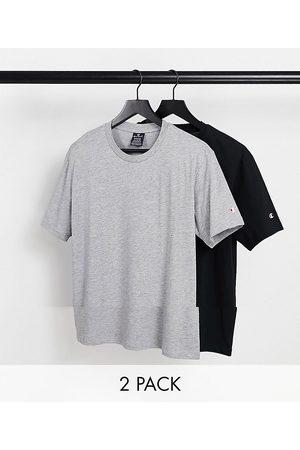 Champion Homme Débardeurs - Lot de 2 t-shirts à petit logo - Gris et noir